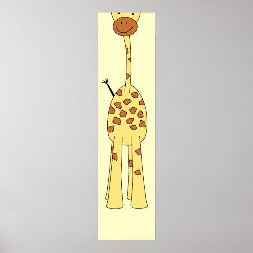 Tall Cute Giraffe. Cartoon Animal. Poster