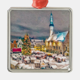Tallinn Estonia Christmas Market Silver-Colored Square Decoration