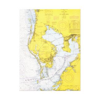 Tampa Bay, Florida nautical chart Canvas Print