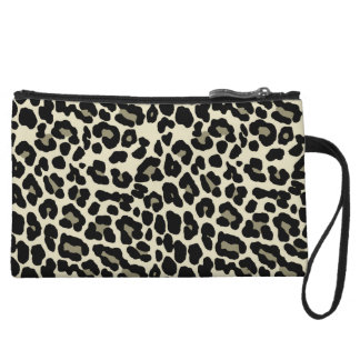 tan and coffee fashionable leopard print wristlet purse