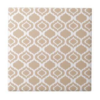 Tan and White Geometric Moroccan Lattice Pattern Small Square Tile