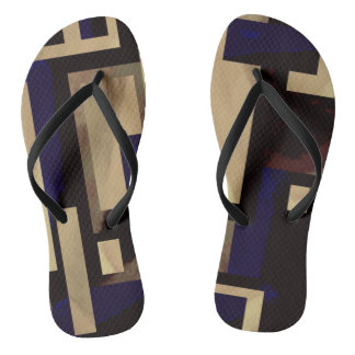 Tan Blue Square Abstract Blocks Flip Flops Thongs
