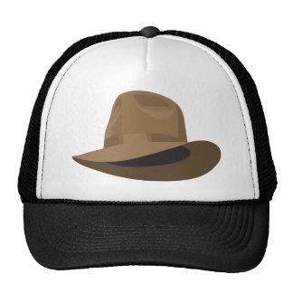 Tan Fedora narrow ribbon Trucker Hat