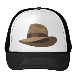 Tan Fedora wide ribbon Trucker Hat