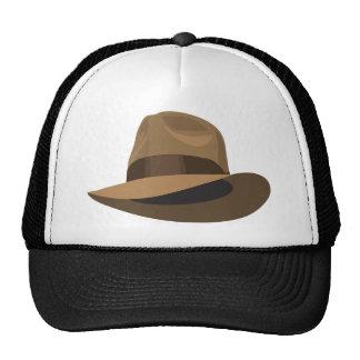 Tan Fedora wide ribbon Trucker Hats