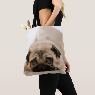 Tan Female Pug Tote Bag