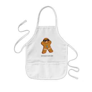 """Tan Gingerbread Man"" Personalized Kid's Apron"