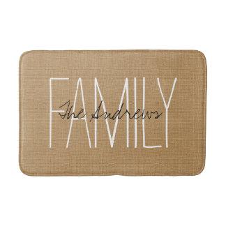 Tan Rustic Chic Family Monogram Bath Mat