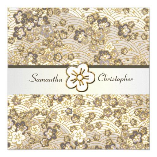 Tan Sakura Chirimen wedding invitations