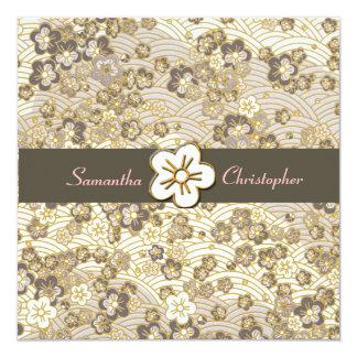 "Tan Sakura Chirimen wedding invitations 5.25"" Square Invitation Card"
