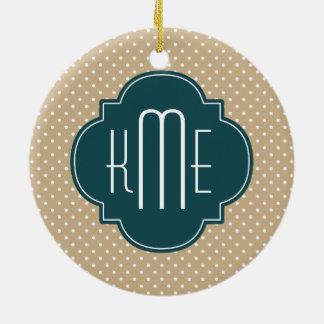 Tan Sand Polka Dots Teal Quatrefoil Monogram Christmas Ornament