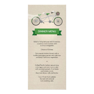 Tandem Bicycle Green Faux Linen Wedding Menu Personalized Rack Card