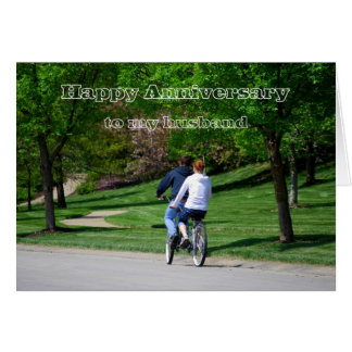 Tandem Bicycle Husband Happy Anniversary Card