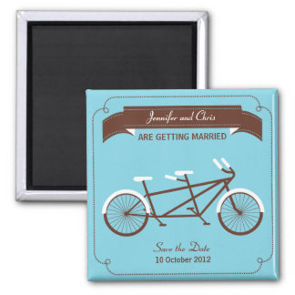Tandem Bicycle Modern Wedding Blue Save the Date Magnet