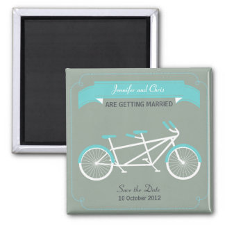 Tandem Bicycle Modern Wedding Grey Save the Date Square Magnet
