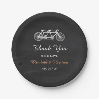 Tandem Bicycle On Chalkboard Wedding 7 Inch Paper Plate