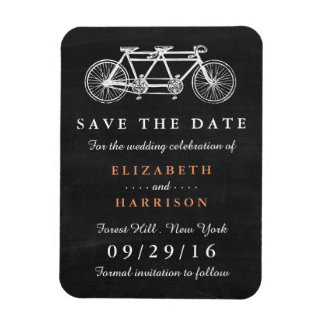 Tandem Bicycle On Chalkboard Wedding Save The Date Rectangular Photo Magnet