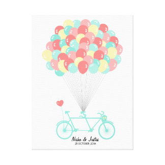 Tandem Bicycle Wedding Guestbook on Canvas Canvas Print