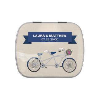 Tandem Dark Blue Bicycle Wedding Engagement Jelly Belly Tins