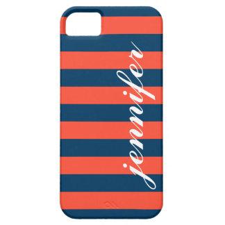 Tangerine and Navy Stripes | Script Monogram iPhone 5 Cover