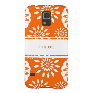 Tangerine Blossom Personalized Floral Splash Galaxy S5 Cover