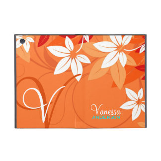 Tangerine Floral Monogram Folio iPad Mini Case
