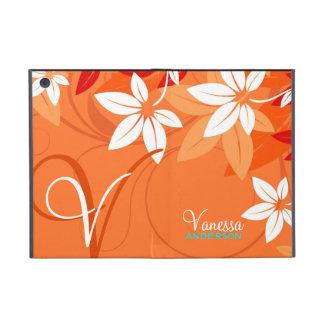 Tangerine Floral Monogram Folio iPad Mini Covers