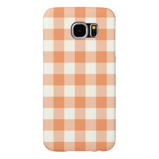 Tangerine Gingham Pattern Galaxy S6 Case