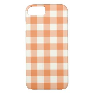 Tangerine Gingham Pattern iPhone 7 Case