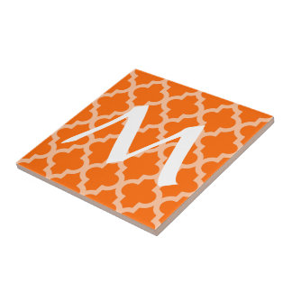 Tangerine Moroccan Moods Quatrefoil with Initial Tile