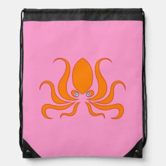 Tangerine Octopus Octopi Pink Drawstring Bag