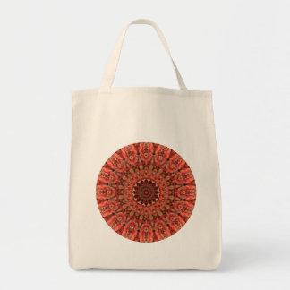 Tangerine Orange and Brown Mandala Tote Bag