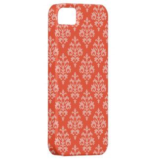 Tangerine Orange and White Damask iPhone 5 Covers