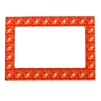 Tangerine Orange Blossoms Nature Floral Picture Frame Magnets