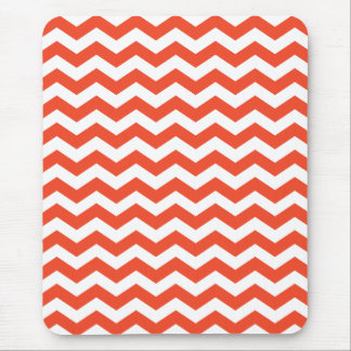 Tangerine Orange Chevron Stripes Mousepad
