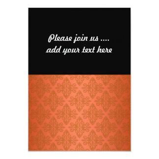 Tangerine Orange Damask 13 Cm X 18 Cm Invitation Card