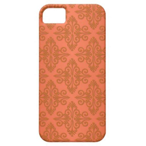 Tangerine Orange Damask iPhone 5 Covers