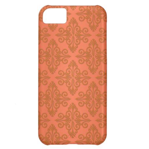 Tangerine Orange Damask Cover For iPhone 5C