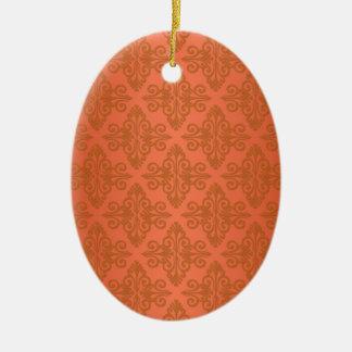 Tangerine Orange Damask Ceramic Oval Decoration
