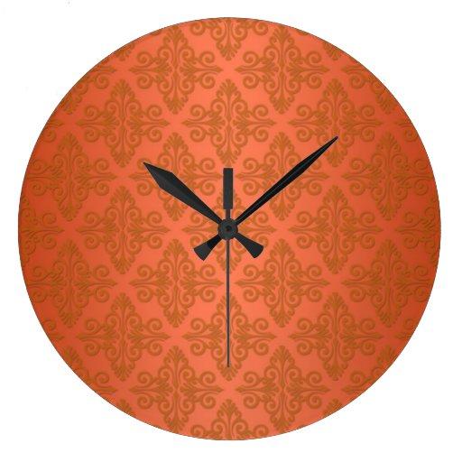 Tangerine Orange Damask Wall Clocks