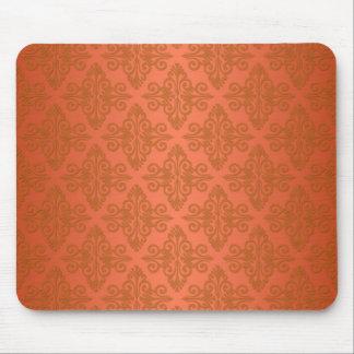 Tangerine Orange Damask Mouse Pad