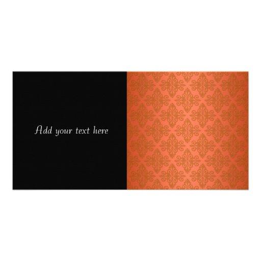 Tangerine Orange Damask Photo Cards