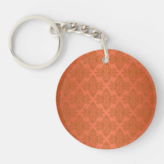 Tangerine Orange Damask Single-Sided Round Acrylic Key Ring