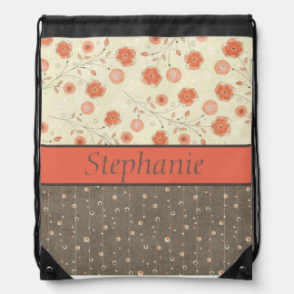 Tangerine Orange Gray Flower Personalized Backpack