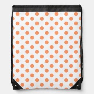 Tangerine Orange Polka Dots Circles Drawstring Bag