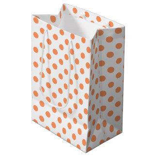Tangerine Orange Polka Dots Circles Medium Gift Bag