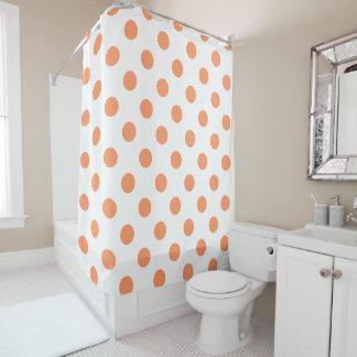 Tangerine Orange Polka Dots Circles Shower Curtain