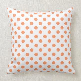 Tangerine Orange Polka Dots Circles Throw Cushion