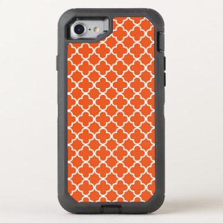Tangerine Orange Quatrefoil Pattern OtterBox Defender iPhone 7 Case