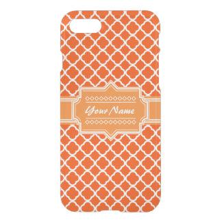 Tangerine Orange Quatrefoil Personalized iPhone 7 Case